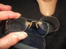 PAIR ANTIQUE GOLD TONE SPECTACLES PINCE NEZ + CHAIN 12K G + SHAGREEN LOOK CASE